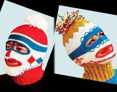 Weird Vintage Knitwear - 1960s ski mask clown balaclava