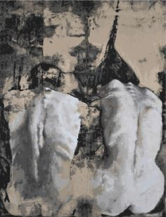 """""""Adamo Eva"""" by Max Gasparini - natural pigments on canvas, mounted on wood"""
