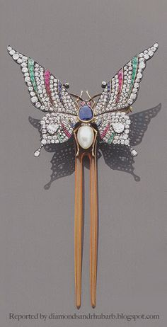 1890 very rare Haute Joaillerie style convertible brooch/hair ornament by Rene Lalique.