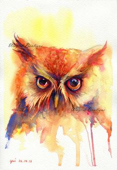 The Owl - ORIGINAL watercolor painting 7.5x11 inches
