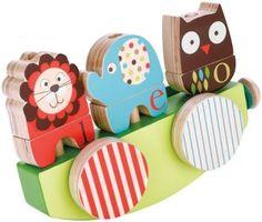 """Деревянная игрушка-каталка """"Английский зоопарк"""" Skip-Hop ALPHABET ZOO rock & stack pull toy"""