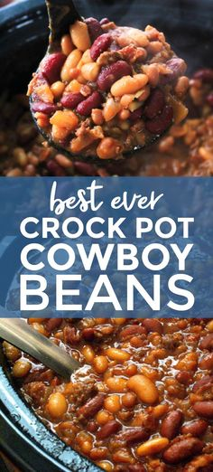 Crock Pot Cowboy Beans are a hearty and filling side dish made with a pound a beef, a pound of bacon, and three kinds of beans, all slow-simmered in a sweet and tangy brown sugar molasses sauce. Best Ever Crock Pot Cowboy Beans - Baked Beans Crock Pot, Best Baked Beans, Slow Cooker Baked Beans, Baked Bean Recipes, Baked Beans With Bacon, Hobo Beans Recipe Slow Cooker, Texas Baked Beans Recipe, Bean Crockpot Recipes, Baked Beans Recipe With Molasses