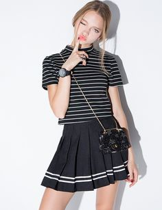 Black Varsity Stripe Pleated Tennis Skirt #pixiemarket #fashion #womenclothing @pixiemarket