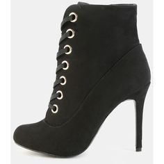 Metallic Eyelet Stiletto Booties BLACK ($36) ❤ liked on Polyvore featuring shoes, boots, ankle booties, black, long boots, stiletto boots, black boots, long high heel boots and black booties