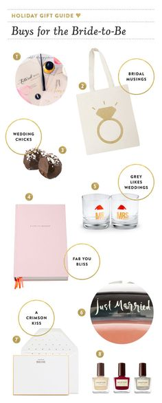 Gifts for the bride to be: http://www.stylemepretty.com/2014/12/19/holiday-gift-guide-for-brides-to-be/