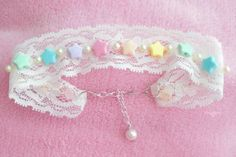 DIY Hime Gyaru Lace/Ribbon Chokers DIY Lace Choker DIY Crafts- Tap the link now to see our super collection of accessories made just for you! Diy Choker, Ribbon Choker, Lace Ribbon, Choker Necklaces, Choker Jewelry, Lace Necklace, Star Jewelry, Star Necklace, Jewellery