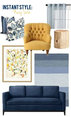 Style-Edition Blog - Navy Blue Sofa....... We could bring in mustard too?