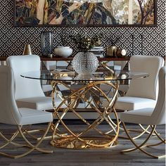Orren Ellis Kayleigh Dining Table Base Color: Gold - Pin This Dining Room Table Decor, Pedestal Dining Table, Dining Room Design, Dining Room Furniture, Living Room Decor, Round Dining, Elegant Home Decor, Elegant Dining, Luxury Home Decor