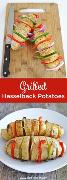 These grilled hasselback potatoes and peppers are an awesome addition to any meal. Just stuff with peppers and onions and top with butter and seasonings!