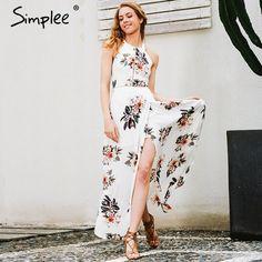 Simplee Floral print halter chiffon long dress Women white split beach summer dress Sexy backless maxi dresses vestidos 2017 new  #dress #ootd #streetstyle #beauty #cool #love #fashion #stylish #instafashion #glam