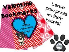 These adorable puppy-themed bookmarks are perfect valentines for your students. Just print in color, cut, hole punch, and tie on a ribbon. Or, download and use for those students who couldn't bring valentines to share in class. 28 colored valentines sure to leave paw prints on their hearts.