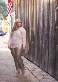 Plus Size Clothing for Women - Loey Lane Champagne Toast Sequin Plus Size Leggings (Sizes 14 - 18) - Society Plus