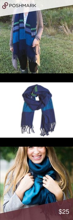 """Cozy Soft Navy Blue Green Striped Oversized Scarf This comfy wrap scarf with fringe ends and wide stripes is sure to add style and warmth to your everyday look. Details: Stylish and warm fringe end scarf Extremely soft and warm over-sized: 70"""" x 28"""" 100% Polyester Great gift! Accessories Scarves & Wraps"""