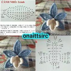 Seed Bead Flowers, Yarn Flowers, Knitted Flowers, Beaded Flowers, Crochet Diagram, Crochet Chart, Crochet Motif, Crochet Bouquet, Crochet Brooch