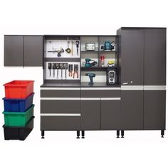 WARRIOR Modular Garage Organiser  EXCLUSIVE TO MITRE 10   2900mm Tall. 2110 mm Wide. Metal door hinges. Aluminium recessed handles. Metal adjustable legs. Grey Laminate. Frame 16mm thickness. Panels 18mm thickness. Ready To Assemble Props not included Coloured bins not included 2 Year Warranty.
