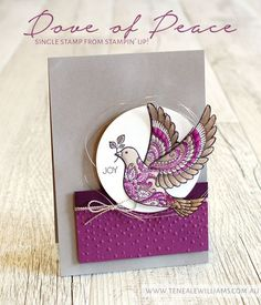 handmade Christmas card from The Val Workshops ... like the trendy gray with deep purple color combo ... Dove of Peace ... Stampin' Up!