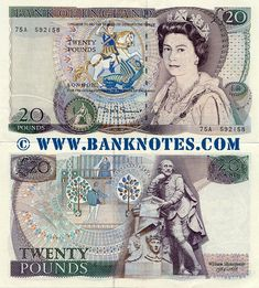 Great Britain 20 Pounds (1970-1991)  Front: Queen Elizabeth II in court robes. Bank of England logo: Britannia seated next to a pile of coins and a shield, holding a spear and a laurel or olive branch. Saint George slaying the dragon, who is placed in William Shakespeare's plays. Back: The balcony scene from Romeo and Juliet. English poet and playwright William Shakespeare (1564-1616) - his sculpture erected in Poet's Corner in Westminster Abbey, London in 1740.