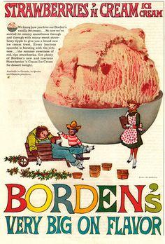 Vintage 1961 Bordens Ice Cream Ad Strawberries Cream Elsie The Cow Retro Ad Art | eBay