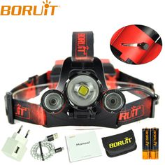 Boruit XML L2+2 XPE Red LED Hunting 8000LM Headlamp 4Modes Headlight+2x18650 Battery + Charger Zoomable Portable Lanterna Lamp #Affiliate