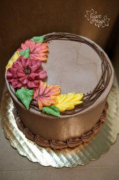 Chocolate Buttercream Cake, Buttercream Cake Designs, Buttercream Cake Decorating, Cookie Cake Designs, Frosting, Creative Cake Decorating, Birthday Cake Decorating, Creative Cakes, Cookie Decorating