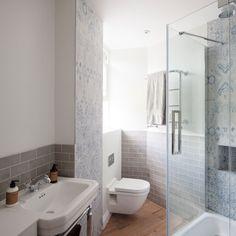 Oakhill Court by Ardesia Design salle de bain douche shower carrelage gris tiels blanc bathroom