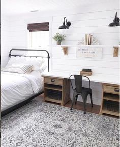 Are you searching for ideas for farmhouse bedroom? Browse around this site for unique farmhouse bedroom images. This cool farmhouse bedroom ideas will look amazing. Farmhouse Bedroom Decor, Home Bedroom, Rustic Farmhouse, Modern Bedroom, Farmhouse Office, Farmhouse Plans, Trendy Bedroom, Farmhouse Style, Farmhouse Lighting