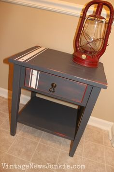 $5 Thrift Store Table turned American Beauty {Vintage News Junkie}