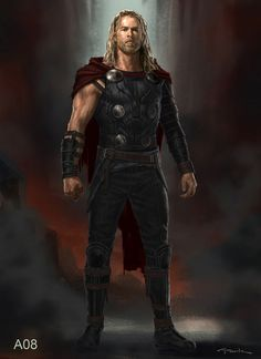 The director of Thor: Ragnarok (Taika Waititi) wanted me to design a Thor that was unkept, not too flashy like he's been in previous movies, like he's been on a journey for 2 years and hasn't really cleaned up. Marvel Dc Movies, Marvel Comics Art, Marvel Characters, Marvel Avengers, Thor Ragnarok Concept Art, Marvel Concept Art, Super Hero Outfits, Super Hero Costumes, Bucky Barnes