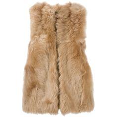 Fendi - reversible fur gilet - women - Lamb Skin/Sheep Skin/Shearling... ($2,140) ❤ liked on Polyvore featuring outerwear, vests, vest, jackets, fur, coats & jackets, beige, sheepskin vest, fur vests and gilet vest