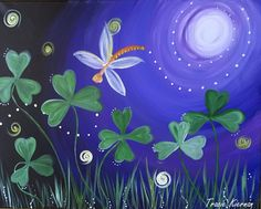 See how easy it is to paint these whimsical clovers at night! This step by step acrylic painting tutorial is perfect for beginners!