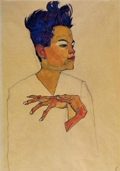 """Egon Schiele, """"Self Portrait with Hands on Chest,"""" 1910"""