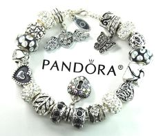 Authentic Pandora Silver Charm Bracelet with European Charms Angel Wing New #Pandoralobsterclaspclaw #European