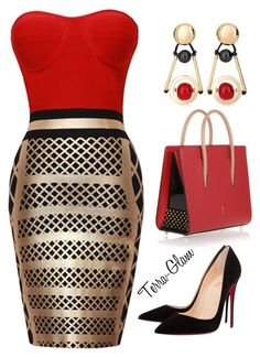 """Really Red"" by terra-glam ❤ liked on Polyvore featuring Christian Louboutin and Chico's"