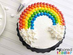 how to make an easy birthday cake using skittles rainbow themed step 6 - Easy Rainbow Birthday Cake Using Skittles and Marshmallows - My Bored Toddler Toddler Birthday Cakes, 6th Birthday Cakes, Rainbow Birthday, Birthday Cake Girls, Mini Tortillas, Cupcakes, Cupcake Cakes, 6 Cake, Skittles Cake