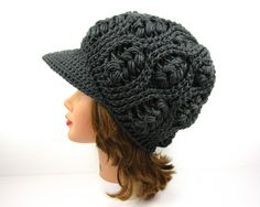 Gray Newsboy Hat - Women's Hat With Brim - Brimmed Beanie - Crochet Cap - Visor Hat - Wheat Stitch Cap - Crochet Accessories by BettyMarieJones on Etsy