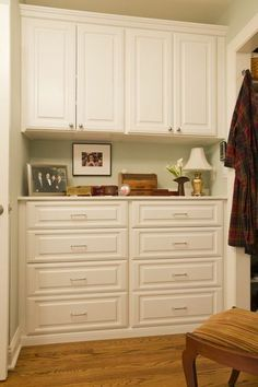 Built in Linen Cabinet. I really like this look. Lots of space ...