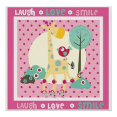 laugh, love, smile wall decor print