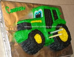 Homemade John Deere Birthday Cake: Living on the farm with only Green equipment, it wasn't a stretch to find inspiration for my son's 2nd birthday John Deere Birthday Cake. I am very crafty