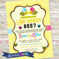 Bumble Bee Invite Bee Gender Reveal Invitation by DreamlikeMagic