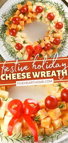 Whatever type of December shindig you are throwing or attending, this Holiday Cheese Wreath must be a part of the festivities! This recipe is easy and customizable. Accented with cherry tomatoes and a rosemary garland, this fun appetizer is a winner at Christmas parties!