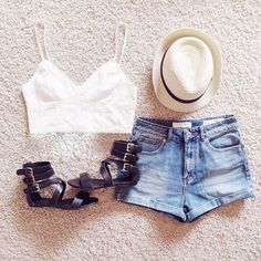 #fashion #hat #clothes #outfit #street #style #girls #girly #shorts #jeans #top #sandals #shoes