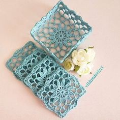 Windrose Bracelet & Necklace Set pattern by Natalia Kononova Filet Crochet, Crochet Bowl, Crochet Diy, Crochet Motifs, Crochet Squares, Crochet Granny, Crochet Gifts, Crochet Doilies, Crochet Stitches