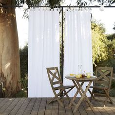 Put your shades on. Our breezy, all-weather Solid Outdoor Curtain lets you create an outdoor room with ease. Whether hung in singles or multiples, these durable curtains provide privacy and protection from the sun's rays.
