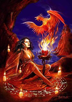 Phoenix Rising Greeting Card Briar Maiden w/ Zodiac wheel Fire Bird Fantasy Card
