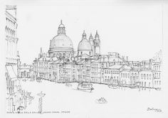 Freehand sketch by Australian artist Dai Wynn of the Grand Canal in Venice with the domes of Santa Maria della Salute in the background, and the Peggy Guggenheim gallery in the middle ground at right. Pencil and ink on 300 gsm smooth surface Arches french cotton paper. 21 cm high by 29 cm wide (8.25 inches by 11.75 inches) approximately - A4 standard.