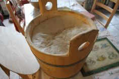 Tim Kirk of Épi microbakery ([@]EpiMicrobakery) in Birkdale, Southport, Merseyside, UK, fermenting sourdough in his 6-kg, repurposed churn. Tim runs Épi microbakery from a modified home kitchen. Photo pinned with his permission.