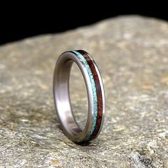Titanium Wood Wedding Band or Ring Koa with by HolzRingShop
