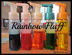 Rainbow Fluff...foaming hand soap (homemade, super cheap!) and liquid water colors. My girls are def getting liquid water colors for Christmas!