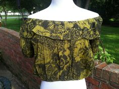 Vintage Green and Black Off Shoulder Boho Festival by PDeeVintage, $6.25