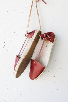 Handmade leather espadrilles, with leather straps. Handcrafted by Emma Wright